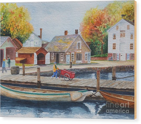 Wood Print featuring the painting Mystic Seaport by Karen Fleschler