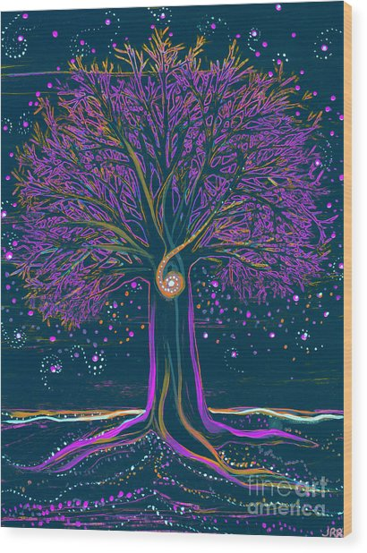 Mystic Spiral Tree 1 Purple Wood Print