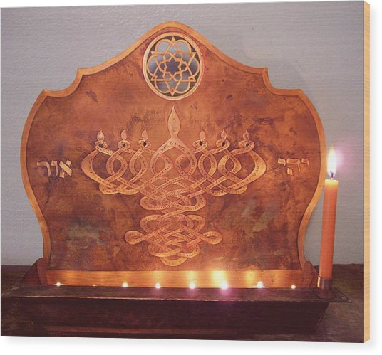 Mystic's Menorah Wood Print