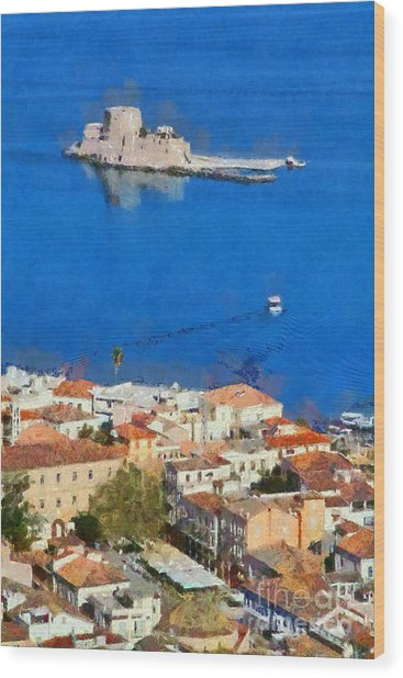 Nafplio And Bourtzi Fortress Wood Print