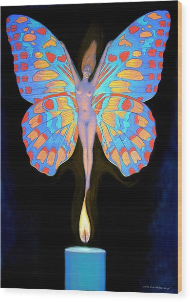 Naked Butterfly Lady Transformation Wood Print