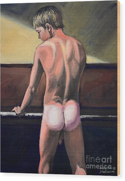 Naked Nude Male Piano Player Wood Print