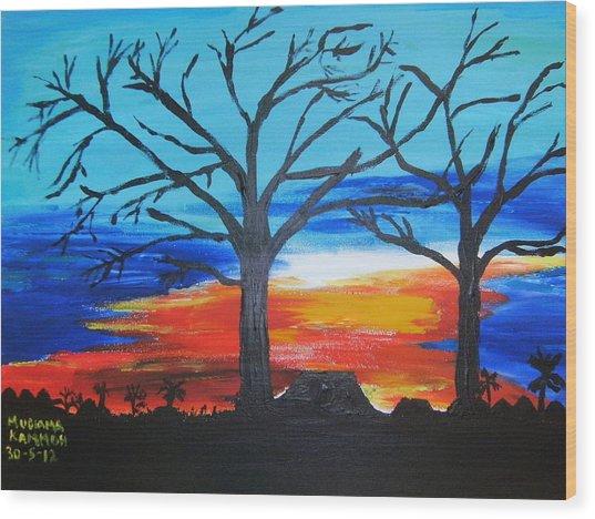 Naked Twin Sisters At Baoma Kpengeh Wood Print