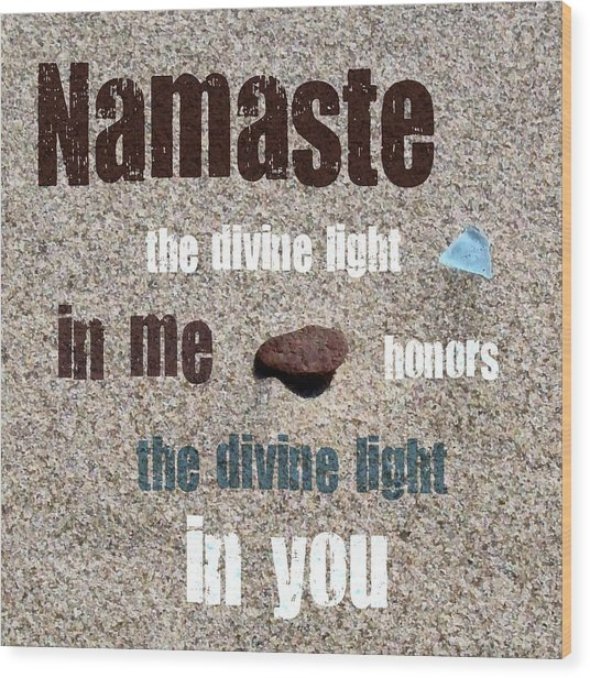 Namaste With Beach Glass And Pebble Wood Print