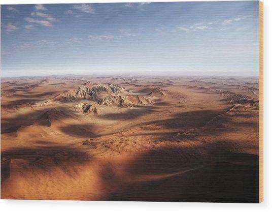 Namibian Sand Dunes View From Plane Wood Print by Mariusz Kluzniak
