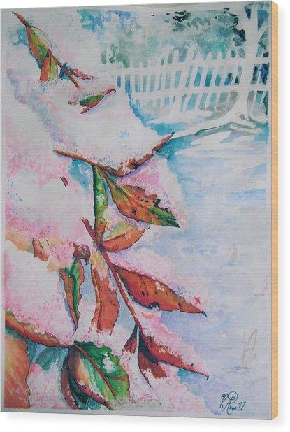 Nandina In Snow Wood Print
