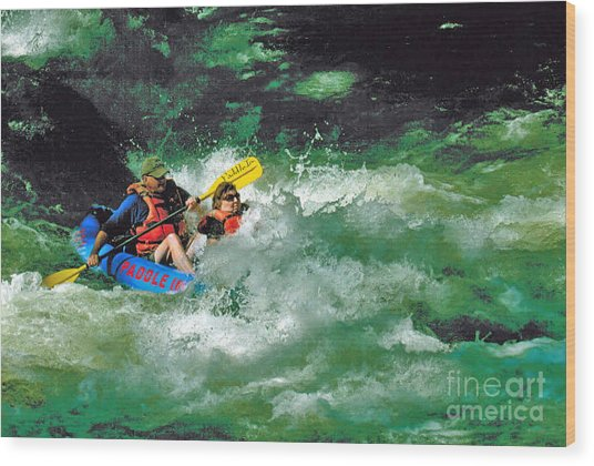Nantahala Fun Wood Print by Don F  Bradford
