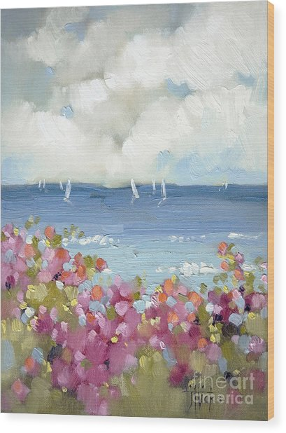 Nantucket Sea Roses Wood Print