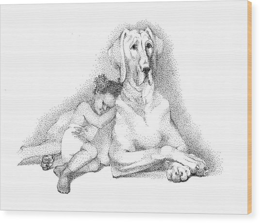 Nap Time. Dog And A Girl. Stippling. Wood Print