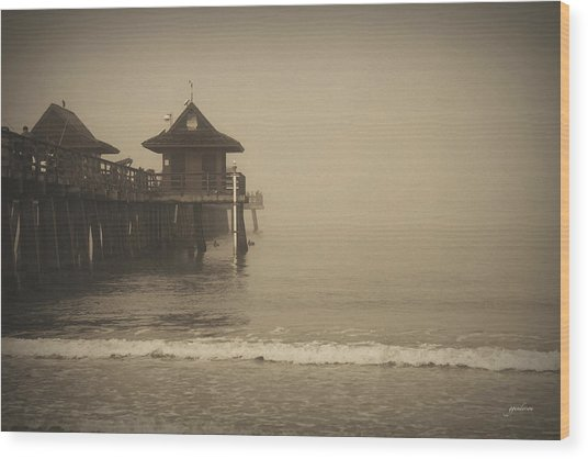 Naples Pier In The Fog Wood Print