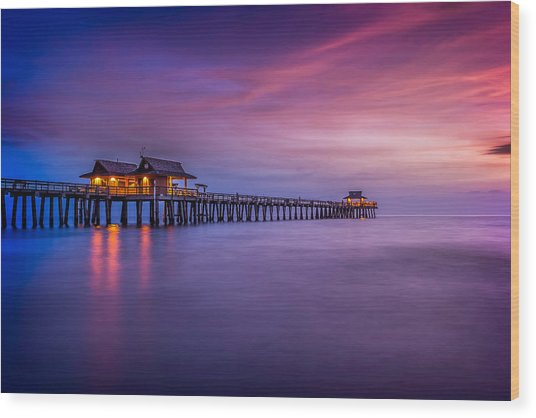 Naples Pier Purple Sunset Wood Print