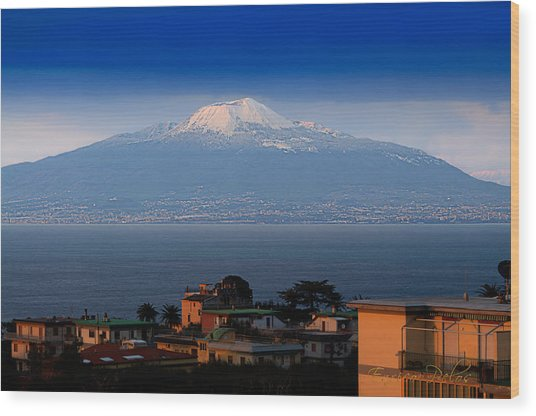 Wood Print featuring the photograph Naples Vesuvio Vulcan With Snow by Enrico Pelos