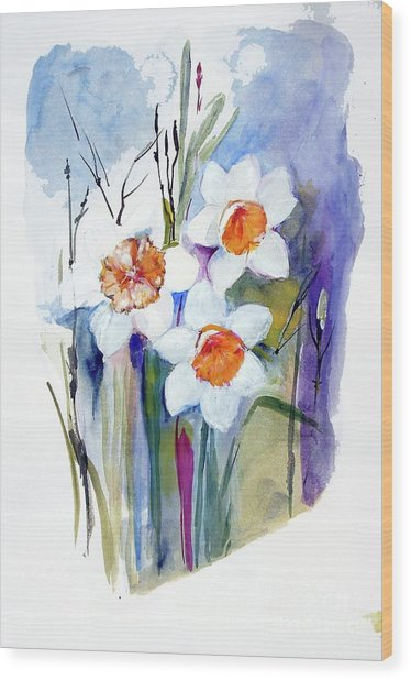 Narcissi Wood Print by Sibby S