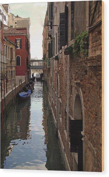 Venice Narrow Waterway Wood Print