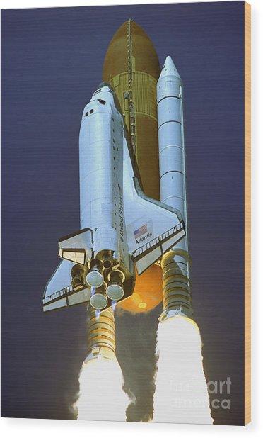 Nasa Atlantis Launch 2 Wood Print
