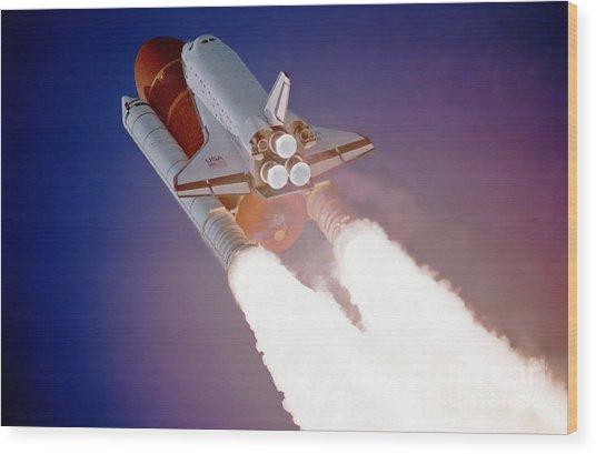 Nasa Atlantis Launch 3 Wood Print