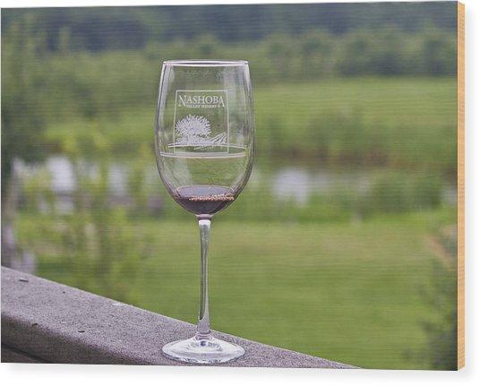 Nashoba Winery Wine Glass Wood Print by John Hoey