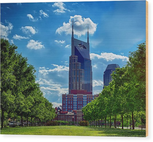 Nashville Batman Building Landscape Wood Print by Dan Holland