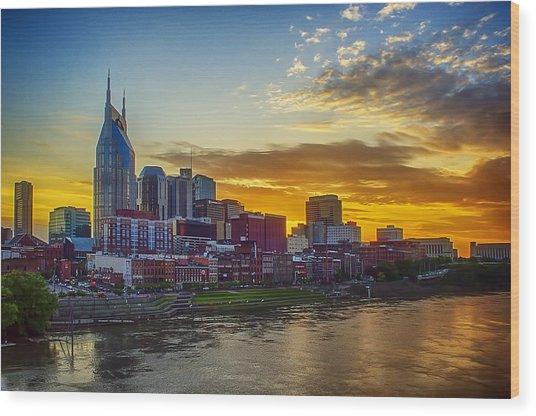 Nashville Skyline At Sunset Wood Print by Dan Holland