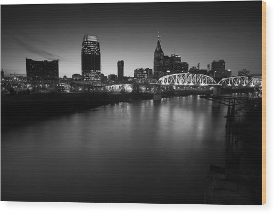 Nashville Skyline Black And White Wood Print