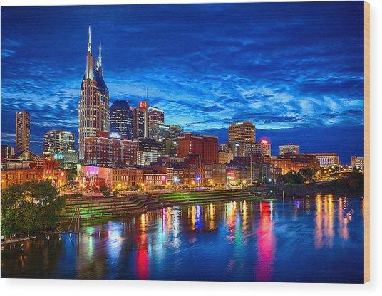 Nashville Skyline Wood Print