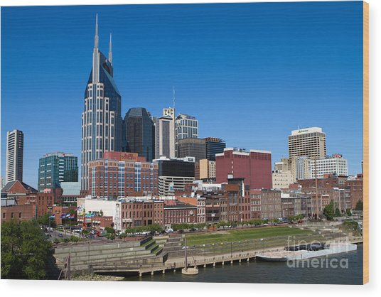 Nashville Tennessee Skyline Wood Print
