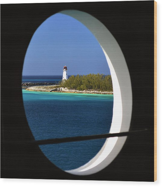 Nassau Lighthouse Porthole View Wood Print by Bill Swartwout Photography