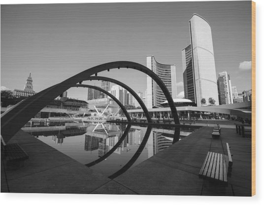 Nathan Phillips Square Wood Print by Eric Dewar