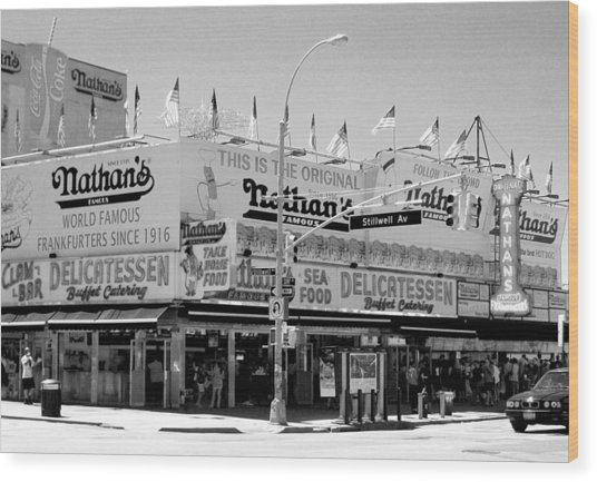 'nathan's Famous Hot Dogs' Wood Print