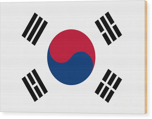 National Flag Of South Korea Authentic  Wood Print