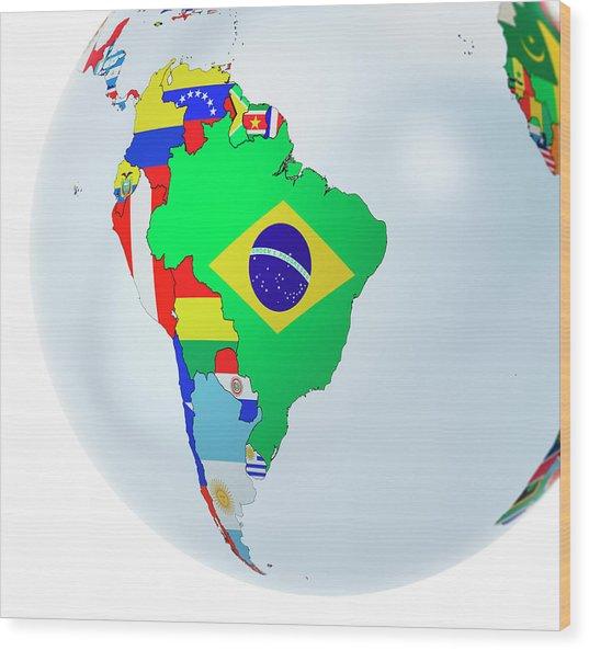 National Flags On Globe Wood Print by Andrzej Wojcicki/science Photo Library