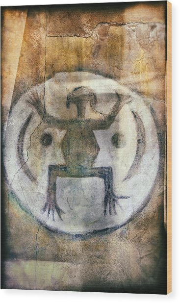 Native American Frog Pictograph Wood Print