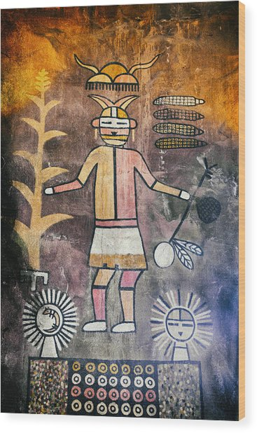 Native American Harvest Pictograph Wood Print