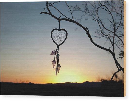Native American Heart Shaped Wood Print by Angel Wynn