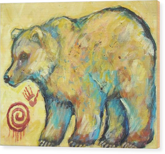 Native American Indian Bear Wood Print