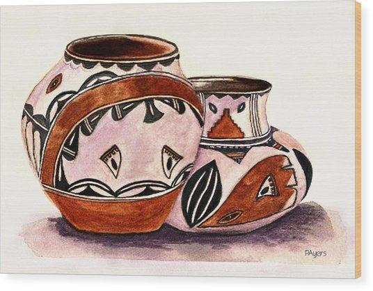 Native American Pottery Wood Print