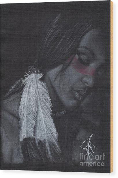 Native American Wood Print by Rosalinda Markle