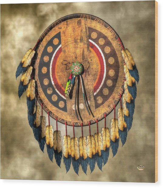 Native American Shield Wood Print