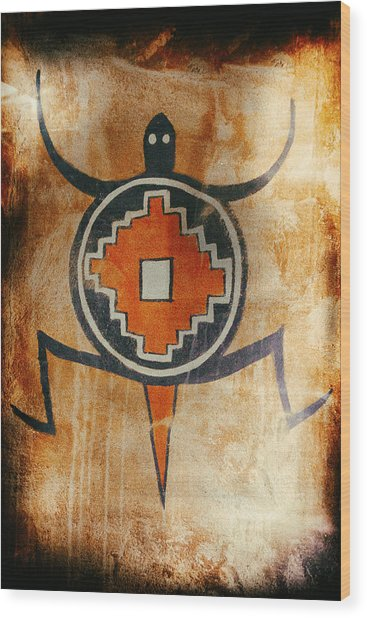 Native American Turtle Pictograph Wood Print