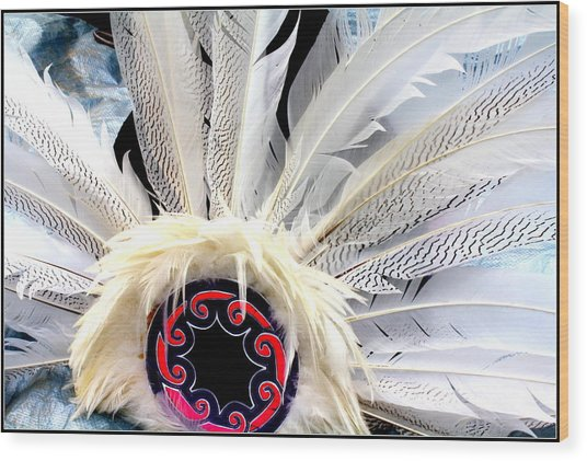 Native American White Feathers Headdress Wood Print
