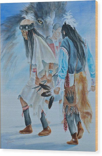 Native Dancers  Wood Print