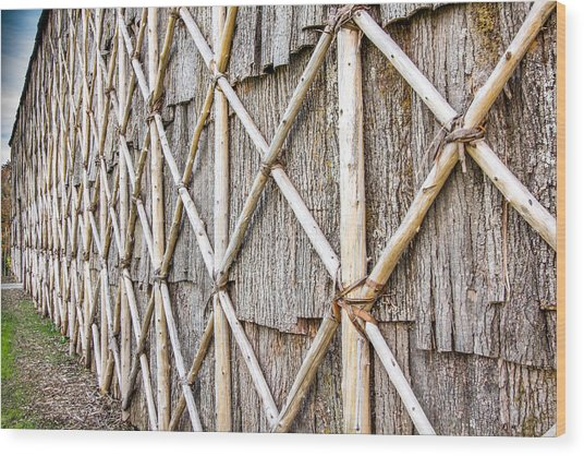 Native Longhouse Wood Print by Nick Mares