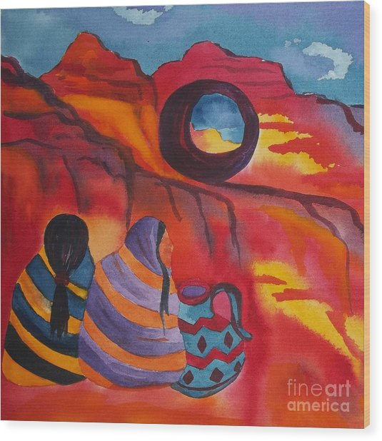 Native Women At Window Rock Square Wood Print