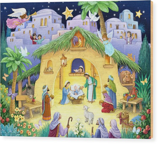 Nativity For Children Wood Print
