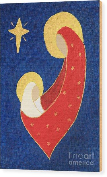 Nativity On Blue Wood Print