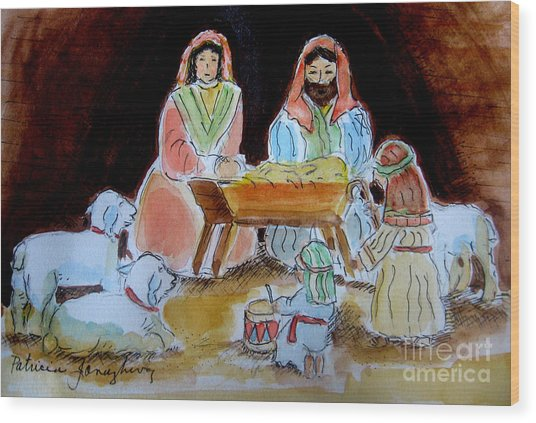 Nativity With Little Drummer Boy Wood Print