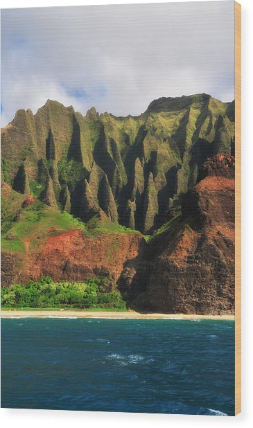 Natural Cathedrals Of Napali Coast Wood Print