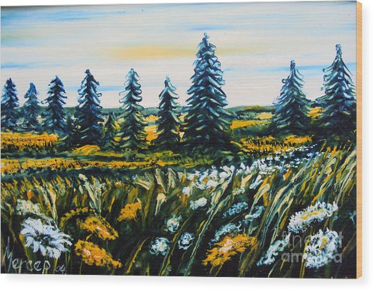 Nature Landscape Field Flowers Pines Art  Wood Print by Drinka Mercep