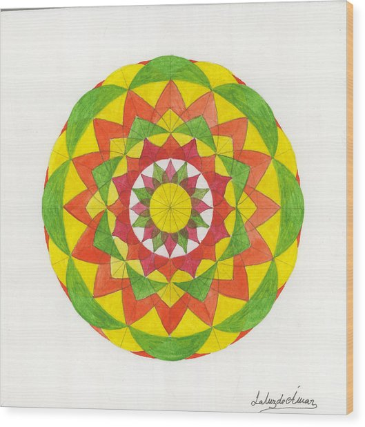 Nature Mandala Wood Print by Silvia Justo Fernandez