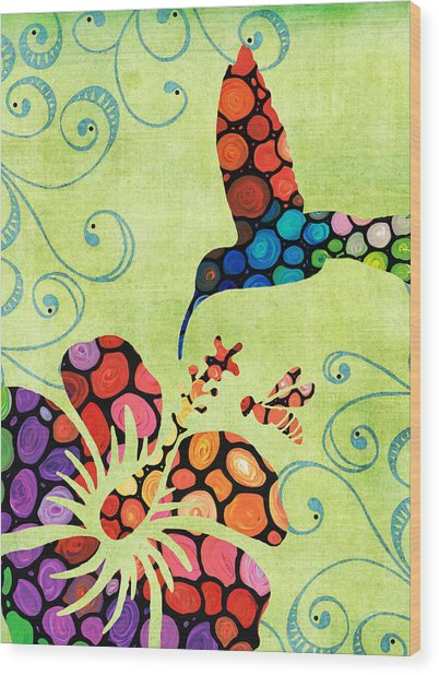 Nature's Harmony 2 - Hummingbird Art By Sharon Cummings Wood Print